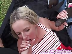 OUTDOOR THREESOME WITH GERMAN AMATEUR TEEN AND CUM LOADS